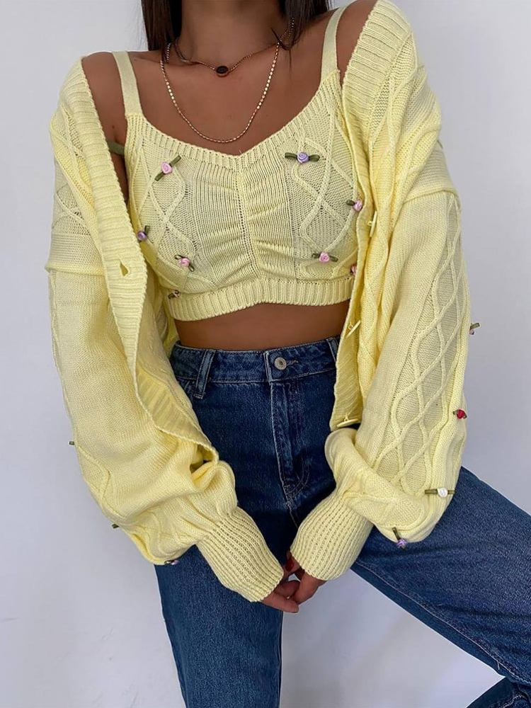 FLORES YELLOW KNITTED SET
