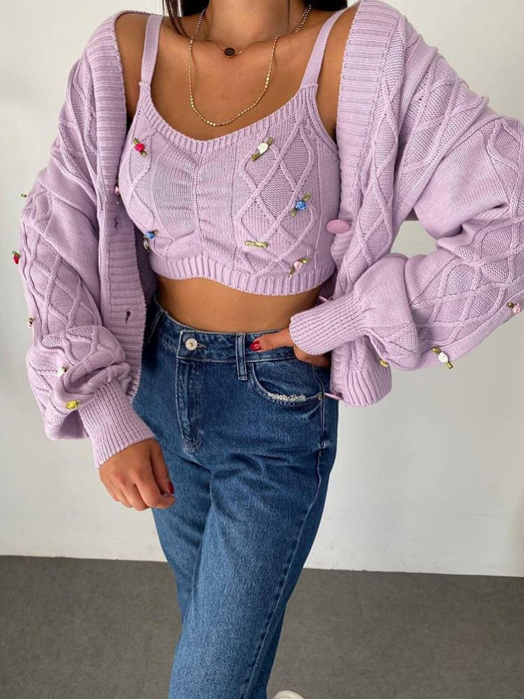 FLORES LILA KNITTED SET