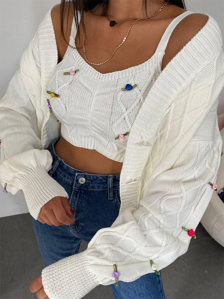 FLORES WHITE KNITTED SET