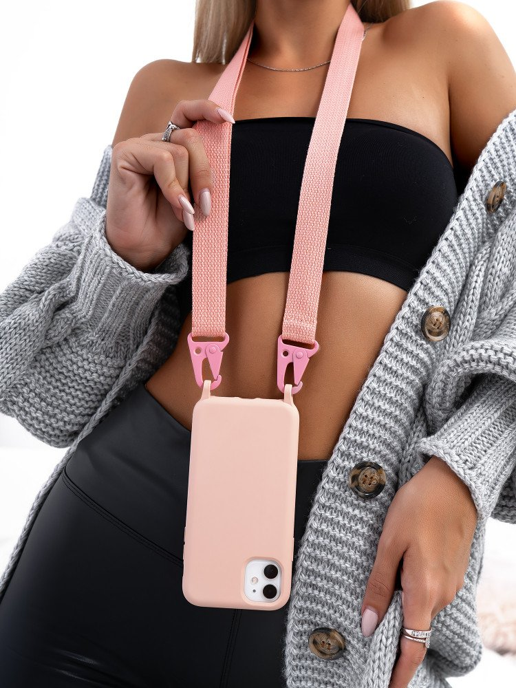 STRAP DUSTY PINK IPHONE CASE